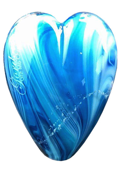 blue heart cremation nugget by lorna reade at ashes in glass