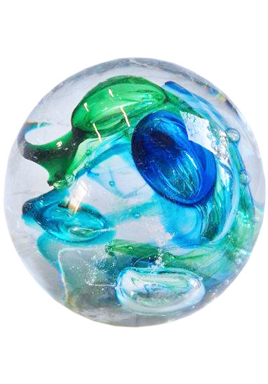 green and blue cremation nugget by lorna reade at ashes in glass