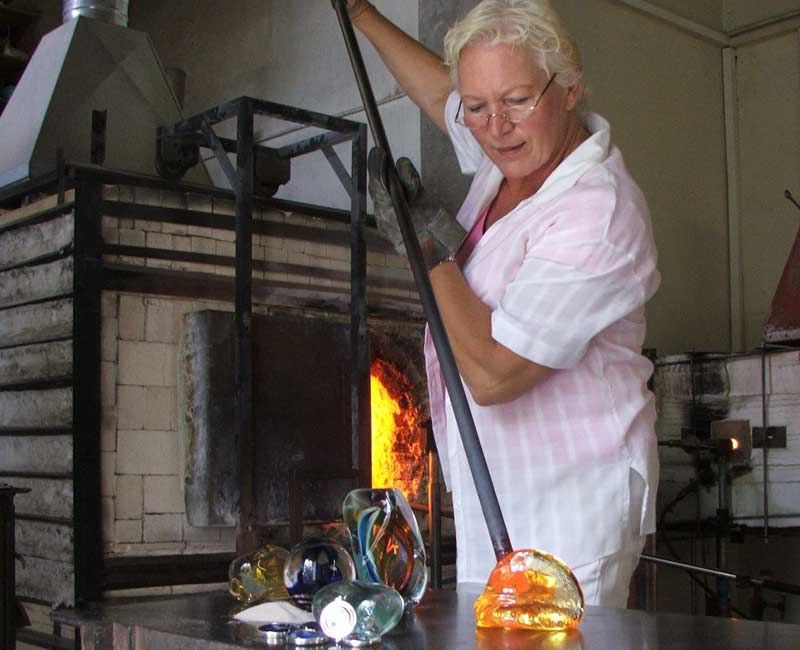 lorna reade in the ashes in glass studio